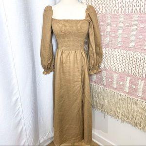 Reformation Gitane Tan Smocked Linen Midi Dress S